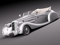 3d model horch 853a antique luxury