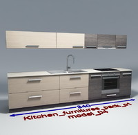 kitchen furnitures 04 3d model