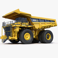 mining dump truck komatsu 3d model