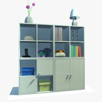 white cabinet decor 3d model