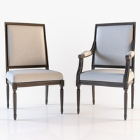 Restoration hardware - Vintage french square upholstered armchair and side chair