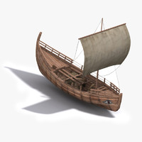 3d model greek ancient trade ship