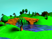 3d terrain cartoon trees