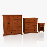 bedroom furniture set armoire 3d 3ds
