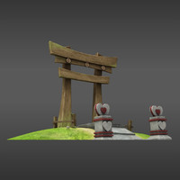 3d model cute japanese gate
