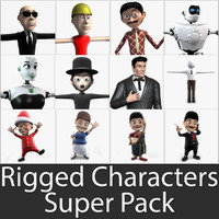 3d rigged characters super pack