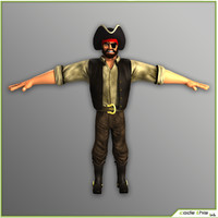 3d male pirate cartoon