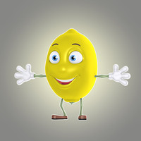 3d cartoon lemon lime model