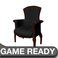 victorian chair black 3d obj