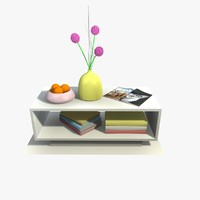white table decor 3d 3ds