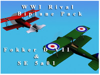 3d model wwi rival biplane pack