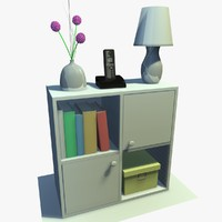 3d model white cabinet decor