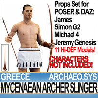 Props Set Poser Daz for Archer Slinger Greek Mycenaean