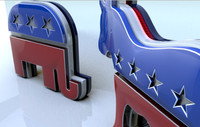 democrat republican party 3d model