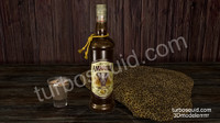 Photorealistic Amarula Bottle High Resolution for Cinema 4D with scene included.