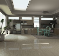 minimalistic kitchen 3d max