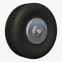 old school tire wheel 3d model