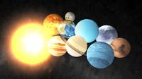 3d solar planets sun model