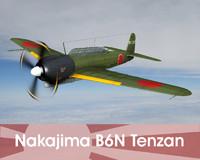3d nakajima b6n tenzan bomber model