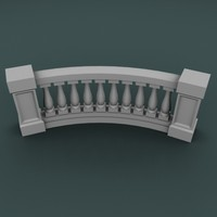 curved balustrade 3d 3ds