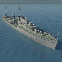 3d world war british destroyer model