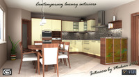 maya visualisation contemporary kitchen scene