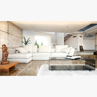 3d render modern living room interior