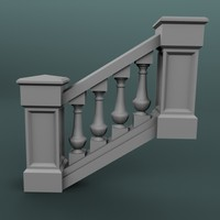 staircase balustrade obj