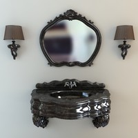Washbasin, mirror & sconces