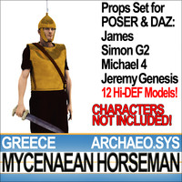 Props Set Poser Daz for Greek Mycenaean Horseman