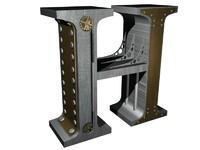 3d steampunk alphabet letters h