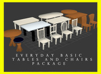 everyday basic tables chairs 3d max