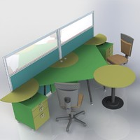 furniture office computer desk 3d model