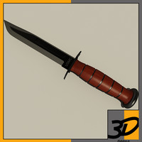 3d ka-bar combat knife model