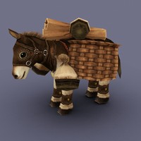 animal mule cartoon 3d model