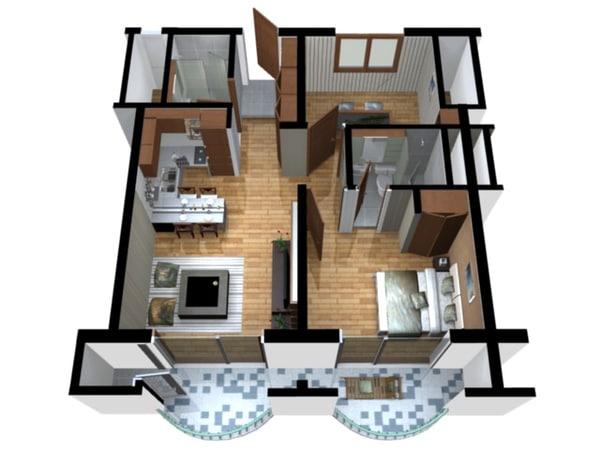Floor plan doll house 3d model for House plan 3d model