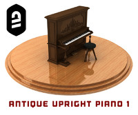 antique upright piano 1 3d model