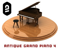 3d model of antique grand piano 4