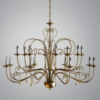 Golden Chandelier with Glass Pendants
