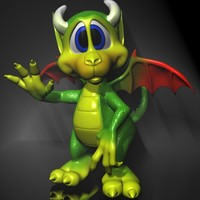 Cute Cartoon Dragon Rigged