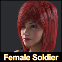 3d female soldier character