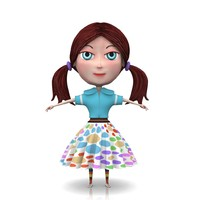 free obj mode girl cartoon