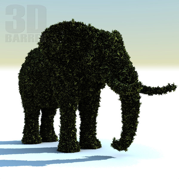3d bush elephant hedge - Hedge Elephant... by 3Dbarrel
