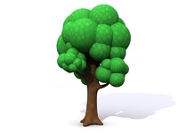 3d model of simple cartoon tree leaves
