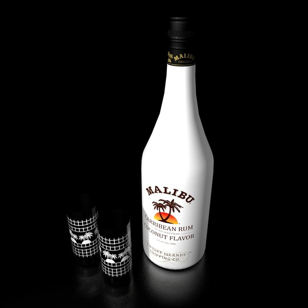 malibu rum bottle glasses 3d c4d - Malibu rum bottle and glasses... by Videomeka