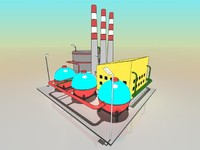 3d simple cartoon factory