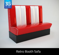 3d model american style retro diner booths