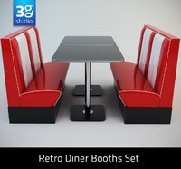 3d retro diner booths set
