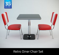 Retro Diner Chair Set 02