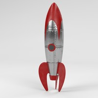 3d retro space rocket